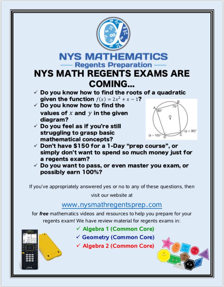 NYS Mathematics Regents Preparation (@mathregentsprep) | Twitter