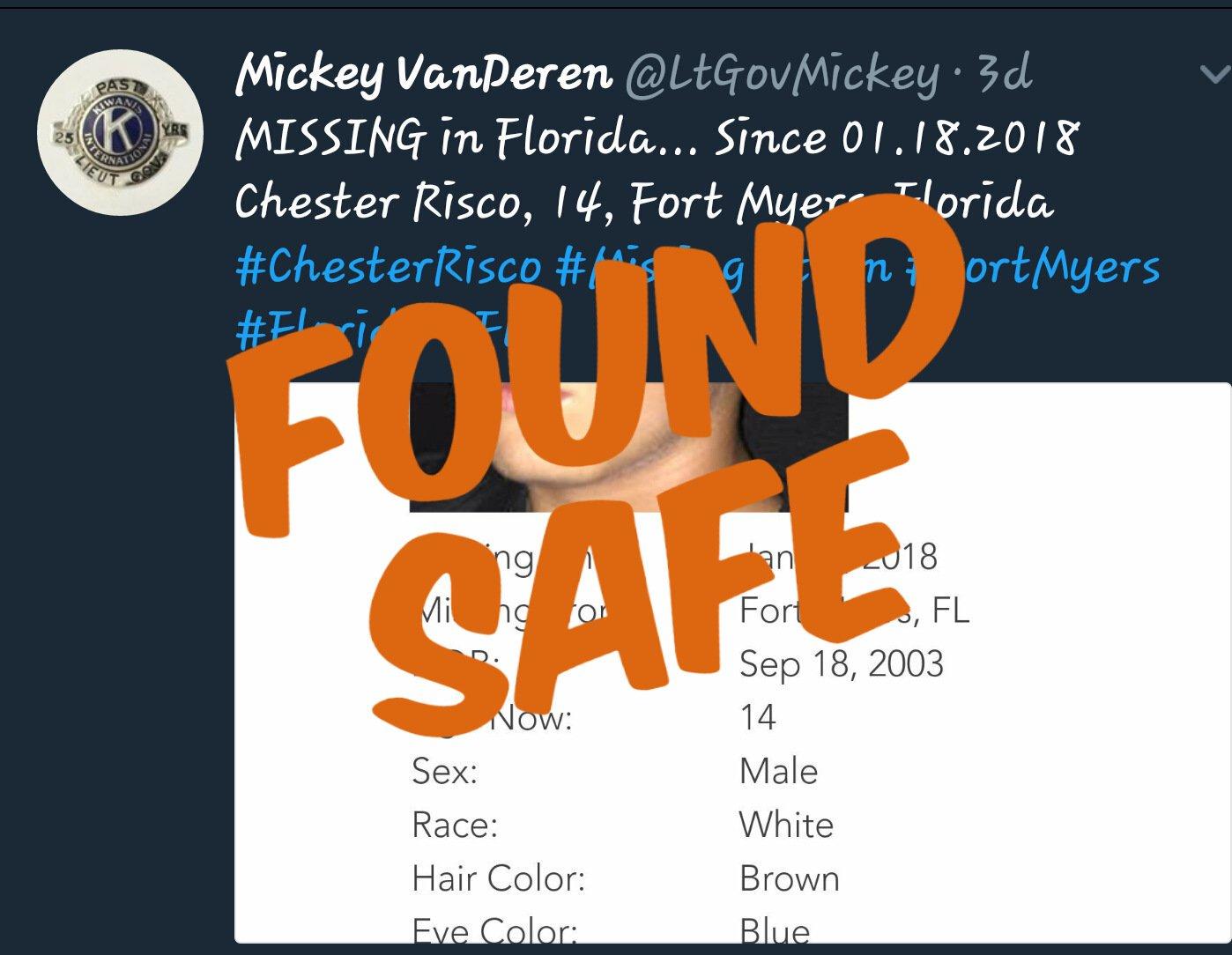 Mickey Van Deren On Twitter Update Chester Risco Found Safe