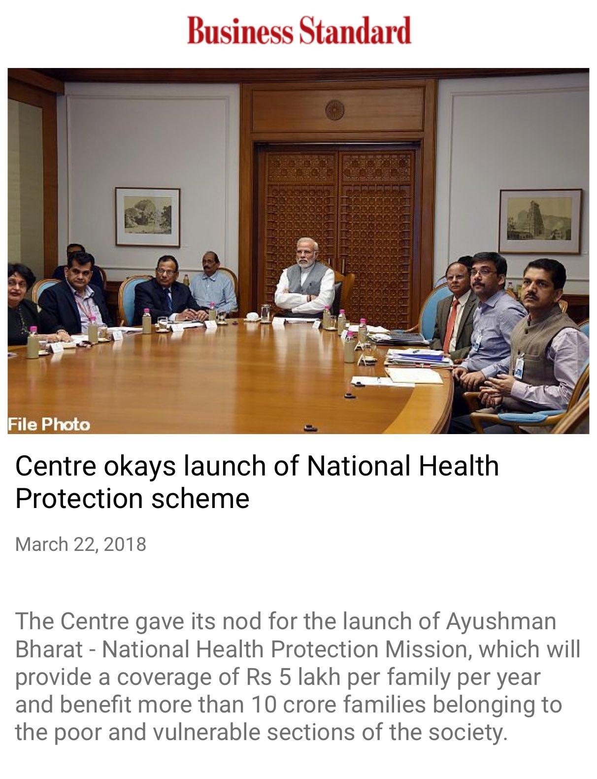 Centre okays launch of National Health Protection scheme.  https://t.co/VlDoqFz106  via NMApp https://t.co/8nHp1D2Hw0