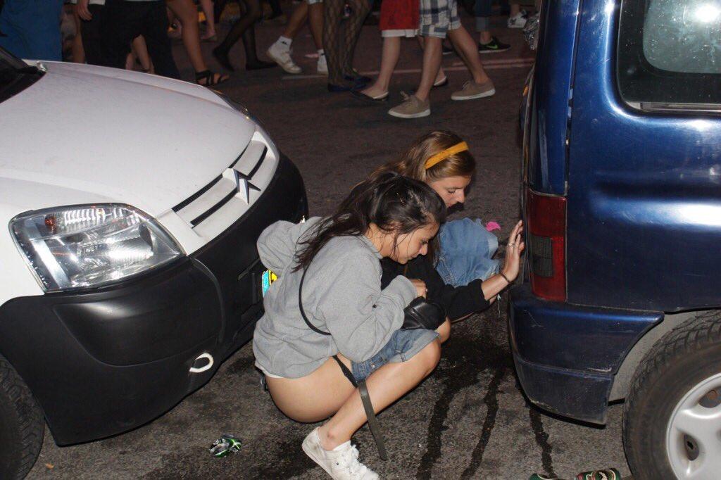 Girl peeing pants in car — 7