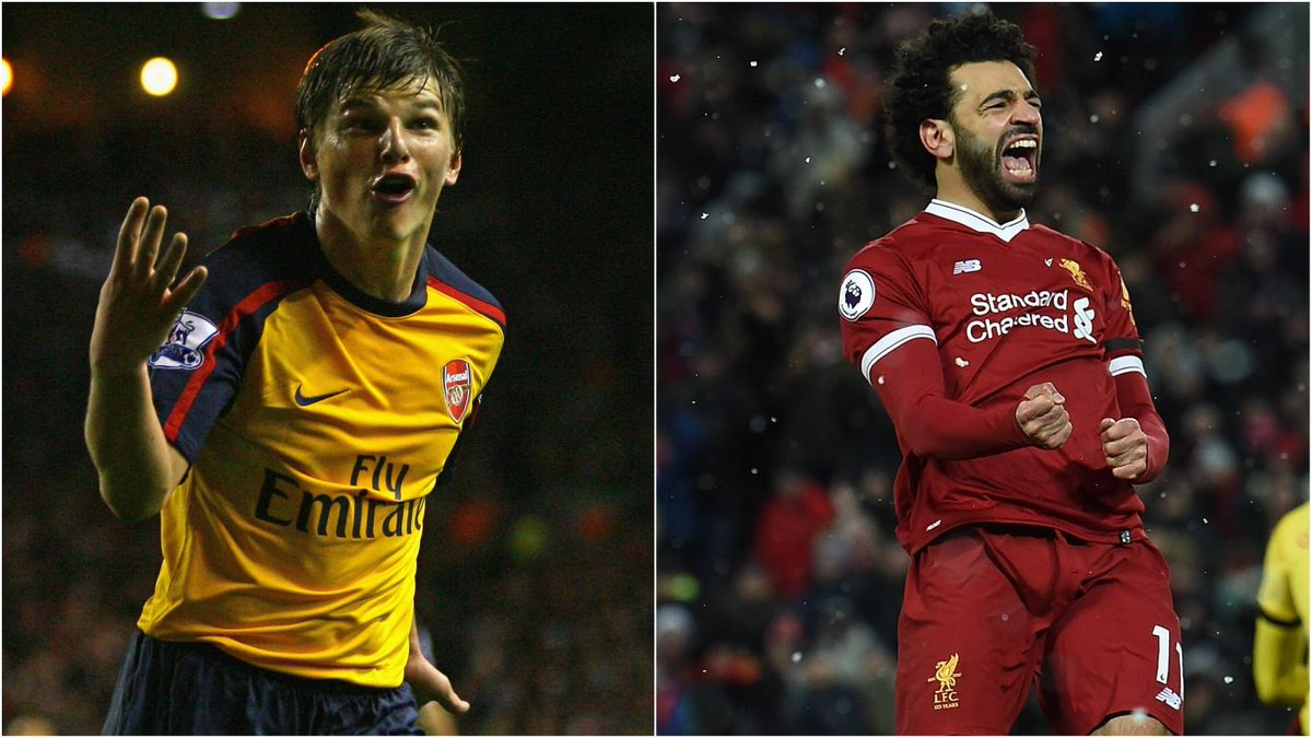 🔴 @22mosalah's 4️⃣ goals against Watford came from just 4️⃣ shots  The last player in the #PL to do the same was Andrey Arshavin at Anfield in April 2009 #TBT