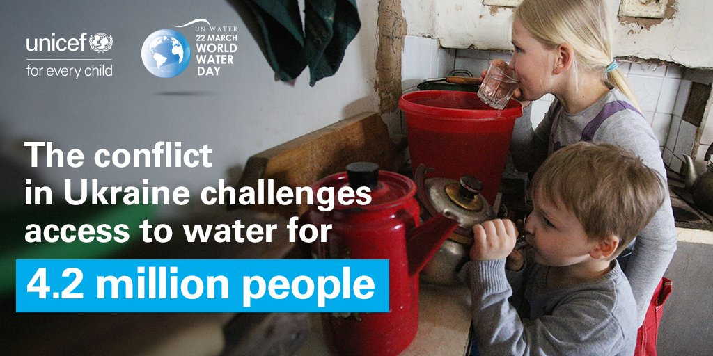 It is #WorldWaterDay!💧 In eastern #Ukraine Frequent violations of ceasefire damage and disrupt critical #water and sanitation infrastructure, challenging access to safe drinking water for 4.2 million children and adults. Water is #NotATarget #ProtectWaterUkraine