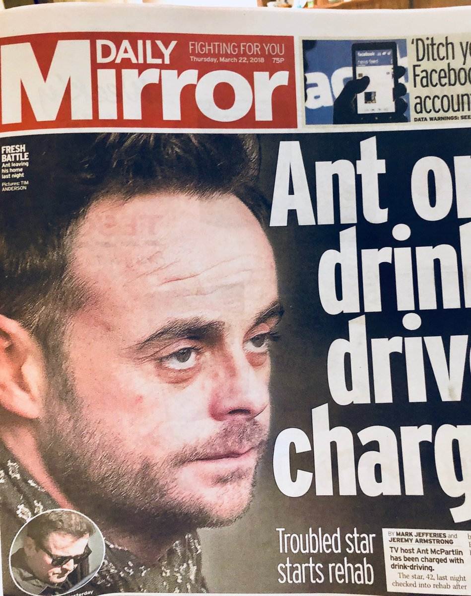Hate to see Ant McPartlin like this. He's a great guy (genuinely, a delight to work with in an industry full of.... less delightful people) who's obviously going through a lot of inner turmoil. Just hope he now gets the proper time & help he needs to sort himself out.