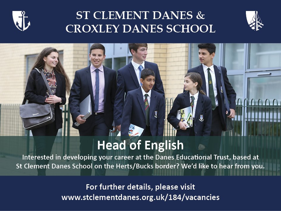 #teachingvacancyuk  English Head of Faculty SouthEast Apply now: https://t.co/yrQCVHjETj  By: 20 April 2018 For: 1 Sept 2018 Come and lead a fantastic team at St Clement Danes, an oversubscribed, successful school on the Herts/Bucks border. https://t.co/FRyPVhZhcv
