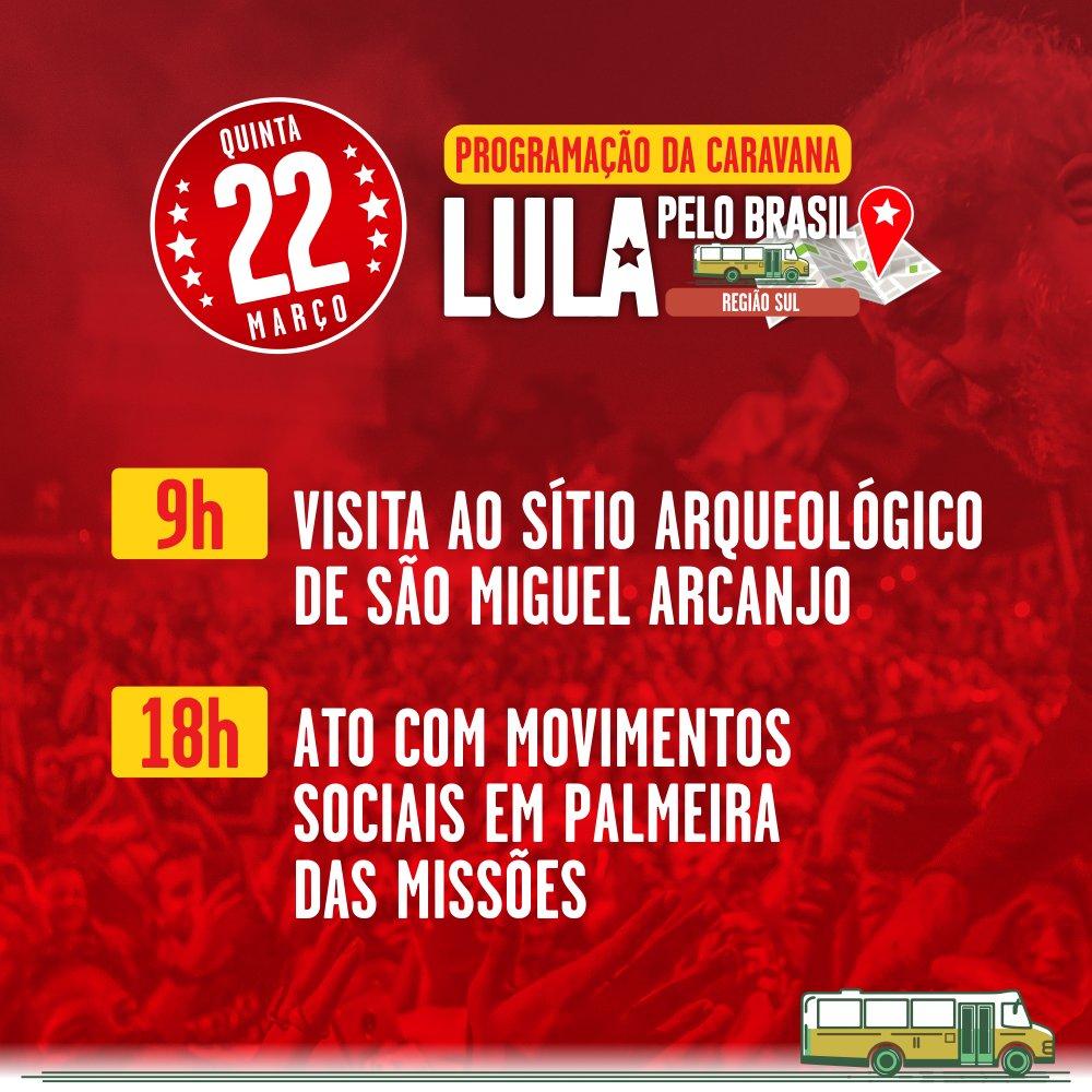 #LULAPELOSUL A Caravana Lula pelo Brasil, na Região Sul, chega a São Miguel Arcanjo (RS).  Acesse 👉👉 https://t.co/1z5aBJrK0m e confira toda a programação.