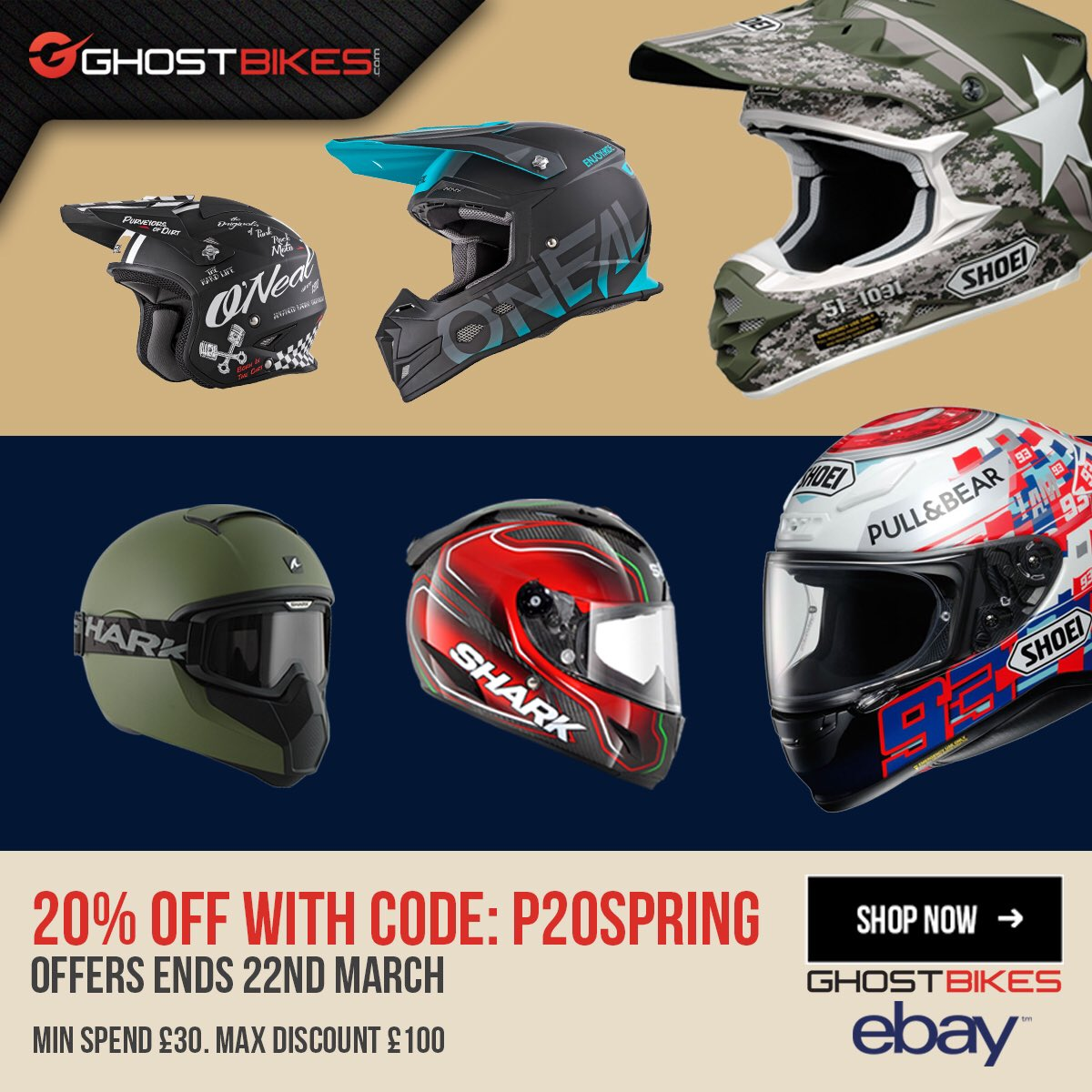 Ghostbikes Com On Twitter Don T Miss Out Ebay Are Treating Ghostbikes Customers To A Huge 20 Off Everything In Our Ebay Store Use Code P20spring Https T Co Edm8nfptme Helmet Motorcycle Biker Gear Motorbike Bikergear