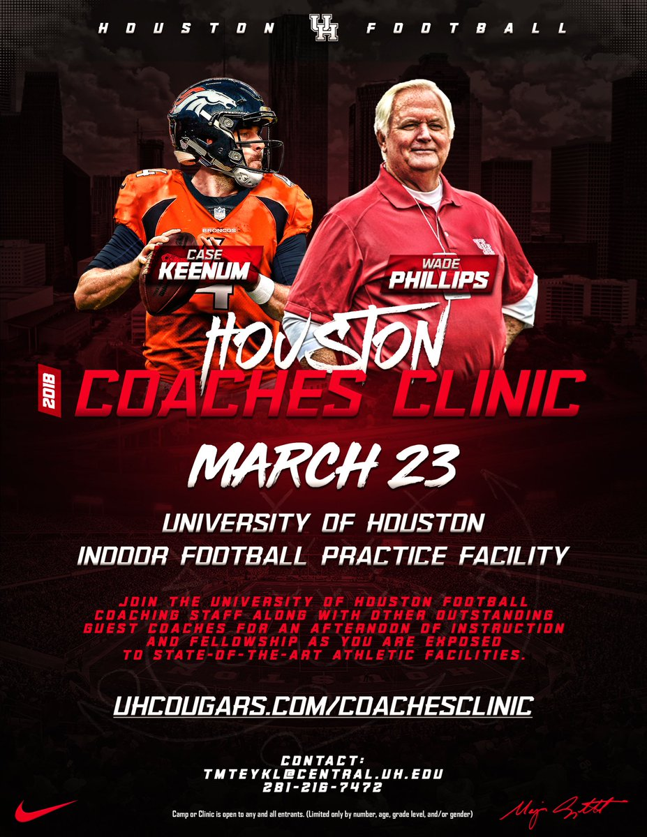 UHCougarFB will have coaches from all parts of Texas meet inside our New  Indoor Practice Facility as they participate in the 2018 Houston Football  Coaches ...