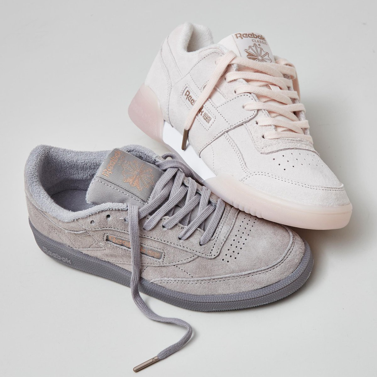 58cf5c5d17fbe4 Whats your favourite-The Club C 85 Trainers in Skull Grey Rose Gold  Exclusive and Reebok Workout Plus Trainers Pale Pink in Rose Gold Exclusive