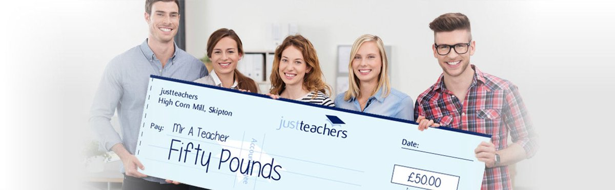 test Twitter Media - Recommend a Friend and get £50! At justteachers we understand that quality attracts quality. Your recommendations are vital to our continuing success. Our referral process is simple, straightforward and uncapped. To recommend a friend simply go to https://t.co/RO4ktsQpV3 https://t.co/WNIOyYEefs