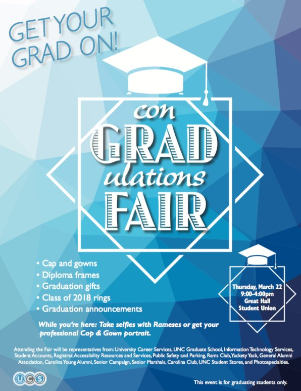 Hey Seniors – can you believe graduation is just around the corner? 😱 Ready or not, be sure to check out @uncucs's ConGRADulations Fair today from 9-4 p.m. in the @CarolinaUnion to buy your cap and gown, grad announcements and much more! #UNCGrad 🎓💙 https://t.co/Ao8NKUVV…