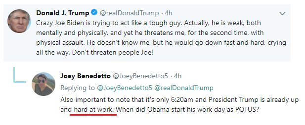 The most disturbin' thing about Trump's 'Crazy Joe Biden' tweet this mornin' is that Trumpers actually consider that bein' 'hard at work.'
