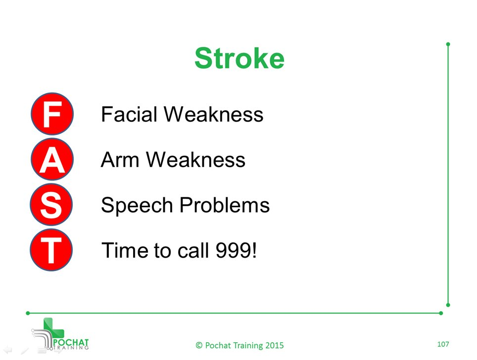 When you suspect a #Stroke, act FAST  F) Facial Weakness A) Arm Weakness S) Speech Problems T) Time to call 999  #FirstAid #Health #HealthCare #uksopro #flockbn #ukpub #Chesterfield #ChesterfieldIs #ChesterfieldNews #Sheffield #Nottingham #Notts #Derbyshire #Derby #B2Bhour #B2B<br>http://pic.twitter.com/NLWTGRQrdo