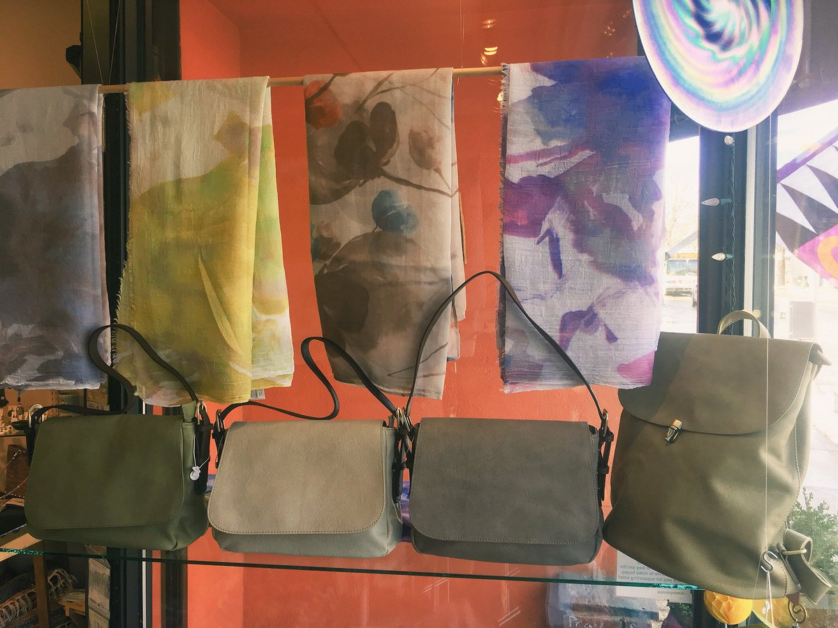 Peek in our window and you'll see another style of Vegan Leather bag. This one comes w/two straps. One long & one short.  Awesome backpack on the right. #veganleather #veganleatherbag #veganleatherpurse #veganleatherbackpack #springcolors #springstyle #windfallgallery #giftspic.twitter.com/VOm6OGENRl