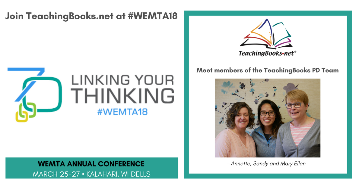 test Twitter Media - Meet members of the TeachingBooks PD Team at #WEMTA18! Join them for a hands-on BYOD session (details below).      - Session 1: https://t.co/oHYCC034Ue      - Session 2: https://t.co/VKtkMGHA3m https://t.co/NDRb1JiNrR