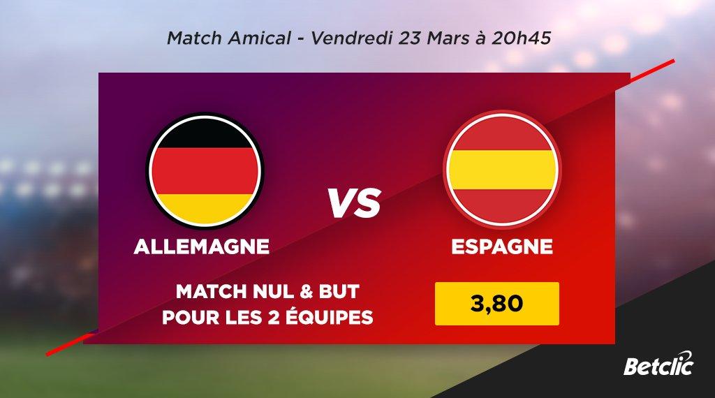 ⚽ Allemagne - Espagne  💰 Match nul & but pour les 2 équipes : cote à 3,80 !  ➡️ Les cotes du match : https://t.co/qnpQPQLmzr