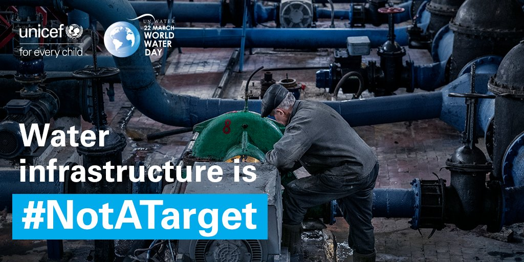 Attacks on #water💧 and sanitation infrastructure in eastern #Ukraine deny children access to safe water, and leave families at risk of relying on contaminated water and unsafe sanitation. Water Infrastructure is #NotATarget #WorldWaterDay #ProtectWaterUkraine