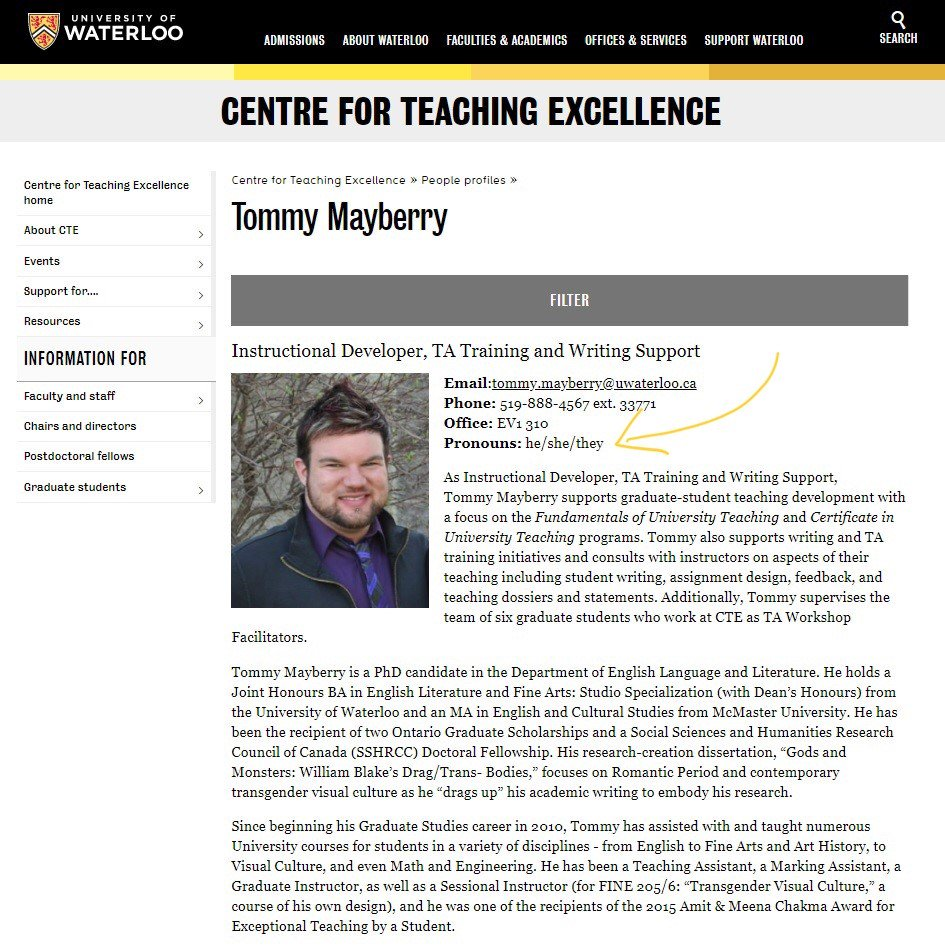 Tommy mayberry on twitter i am soproud of this and so excited to i am soproud of this and so excited to be able to help champion personalpronouns on campus first uwaterloos business cards now staff profiles colourmoves