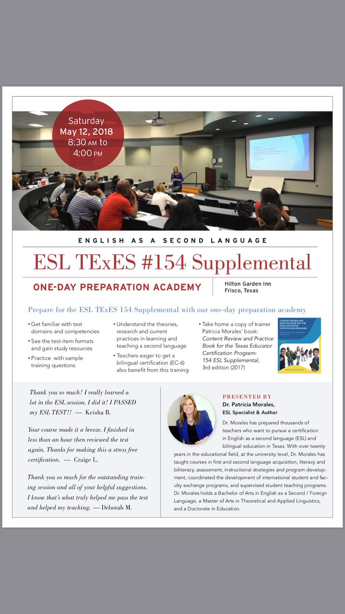 Dr pat morales ellservices twitter are you a teacher in texas who needs to be esl certified join us on may 12 for an intense one day test reviewpicitter86uqvsrioe 1betcityfo Images
