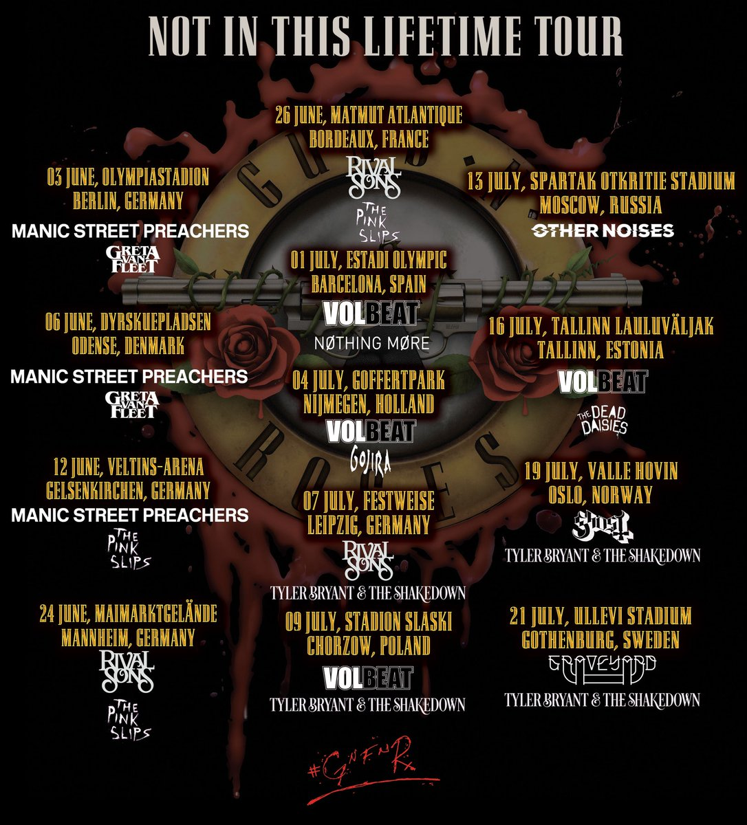 Guns N Roses On Twitter Support Acts For The Notinthislifetime