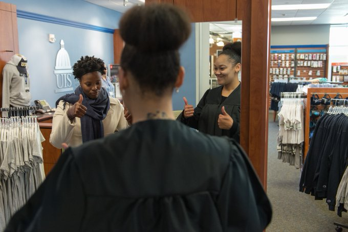 Only 51 days until #UISedu Commencement! Students started purchasing their caps & gowns today at the bookstore. If you're taking part in commencement, you must purchase a cap & gown by Saturday. Pickup hours are Thurs 11 a.m. – 7 p.m., Fri 10 a.m. – 6 p.m. & Sat 9 a.m. – 1 p.m. https://t.co/UWqj0yLUpQ