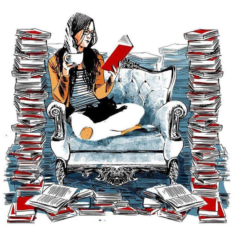 Девушки с книгой открытки