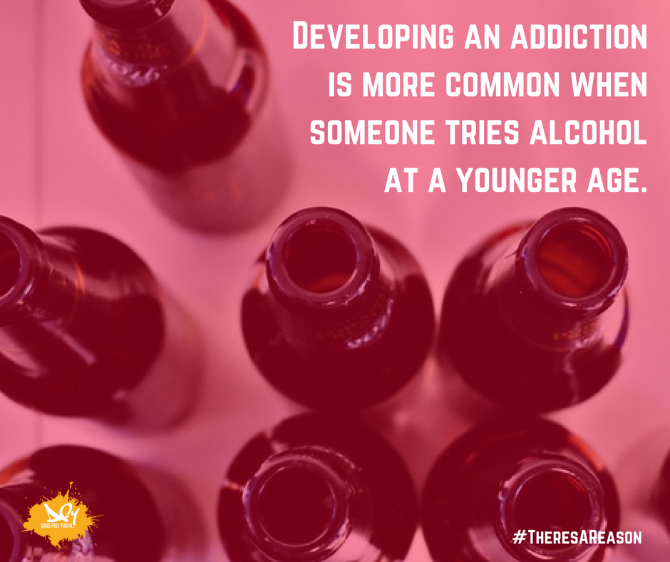 Your chances of developing an addiction is more likely when you've used alcohol at a younger age #TheresAReason