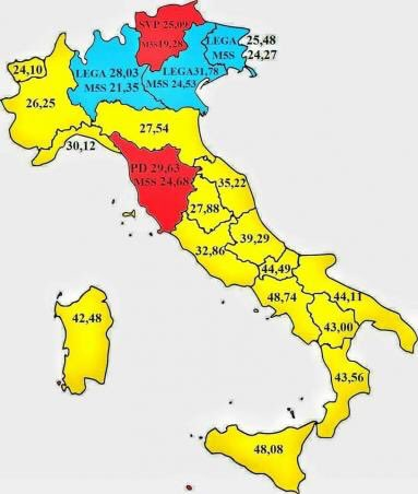 Servizio speciale su #Lega al 13% al Sud.  A quando il servizio sul #M5S???  #piazzapulita e la cartina che non deve essere mostrata.  - Ukustom