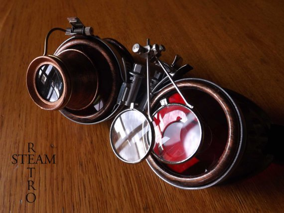 #steampunk https://t.co/Zb0yA1QA56 bronze steampunk goggles – double loupe red multi lens cyber goggles burning man steampunk accessories – steampunk gift – steampunk by SteamRetro