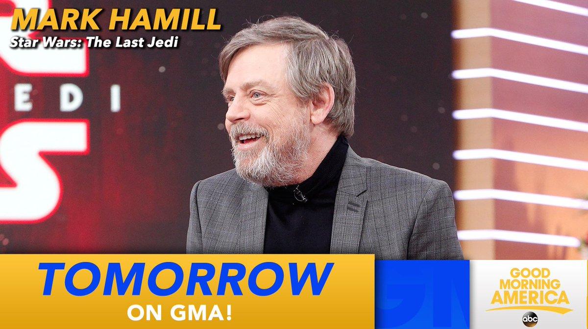 .@HamillHimself talks @starwars #TheLastJedi tomorrow on @GMA