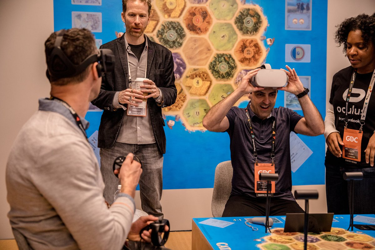 .@Jason_Rubin and I went on a cross-platform Catan VR skirmish: me on Oculus Go, him on @OculusRift. Cross-platform support allows developers to build for the entire @Oculus audience—PC, mobile, standalone—at once. Check it out for yourself at #GDC18 Oculus booth 401, South Hall
