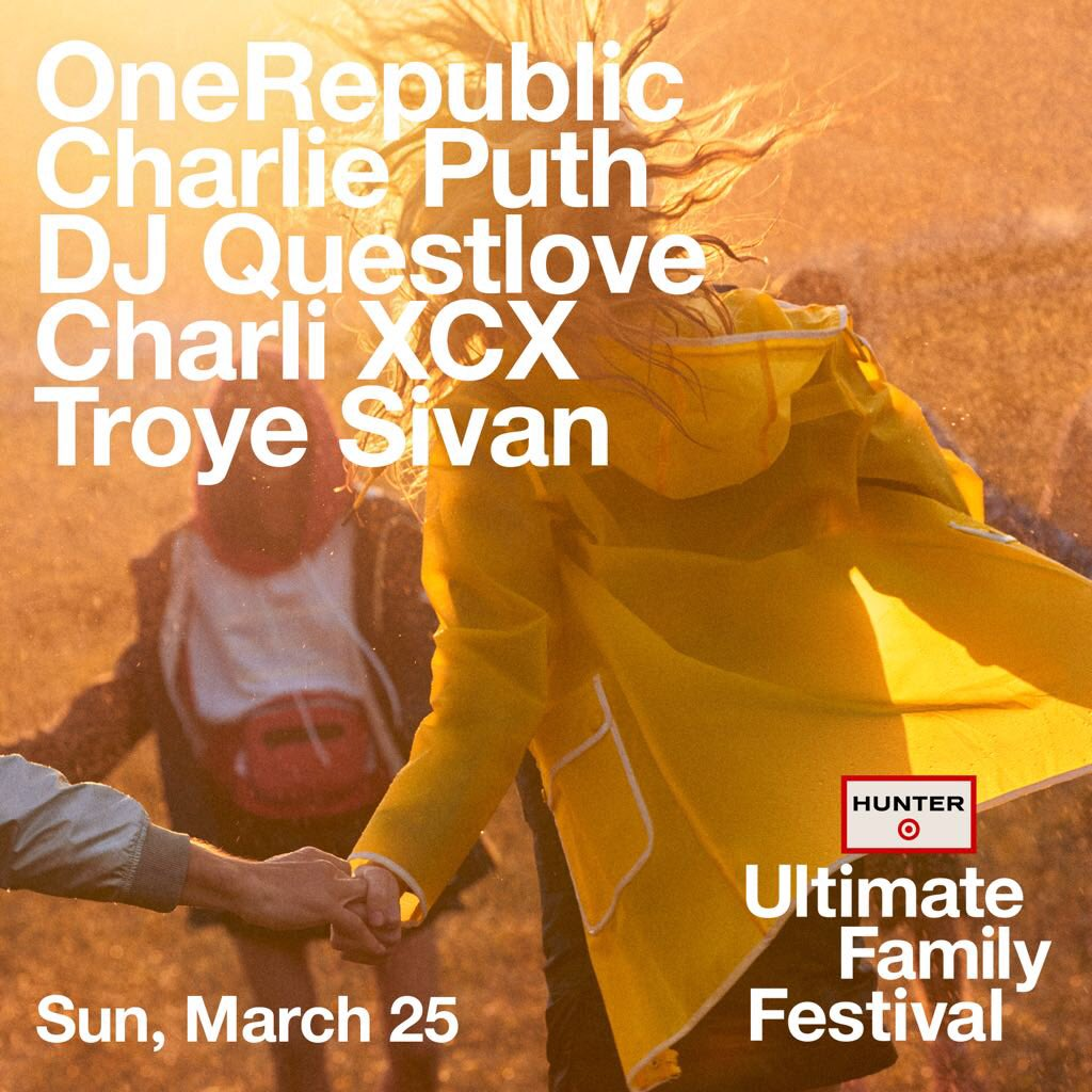 v excited to be performing at the #HunterxTarget Ultimate Family Festival for @HunterBoots and @Target in la this sunday with dream boy @troyesivan and my alter ego twin @charlieputh amongst other legends @questlove and @OneRepublic !! gonna be a partyyyy!!!! 💕💫👢🌺🌸💝
