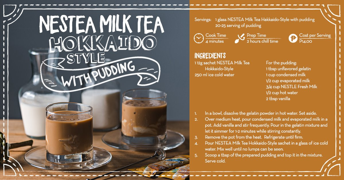 Make your own milk tea at home with NESTEA Milk Tea! This one is a crowd favorite - NESTEA Milk Tea Hokkaido Style with Pudding! Learn how to make it here! Simple, easy, and yummy! https://t.co/aDqpjuxfb1