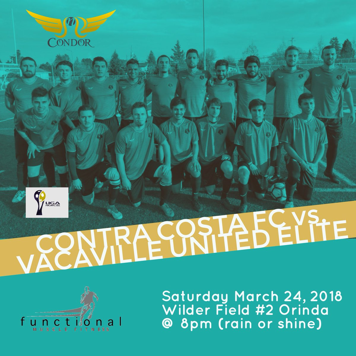 Back in action this weekend as we take on @VUESC at Wilder Field in Orinda.  Game is rain or shine. @norcalpresoccer @functional_soccer @functionalmuscle @guslaredo #vamosaganar #ccfc #contracostafc #liganorcal #supportlocalsoccer #supportlocalfutbol #contracostacounty