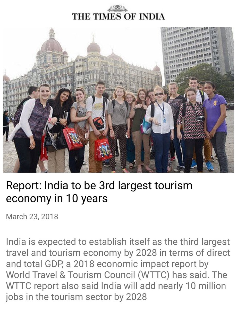 Report: India to be 3rd largest tourism...