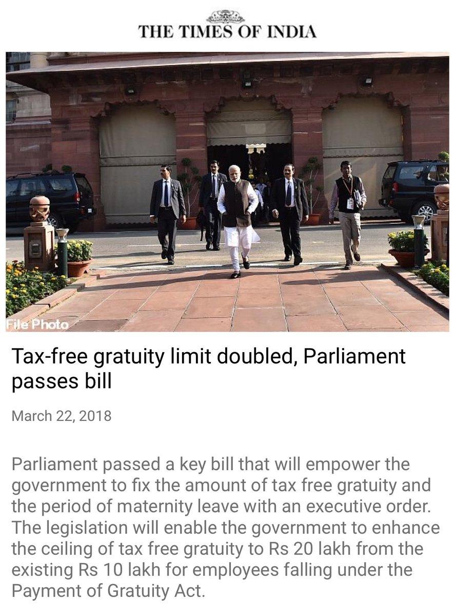 Tax-free gratuity limit doubled, Parliam...