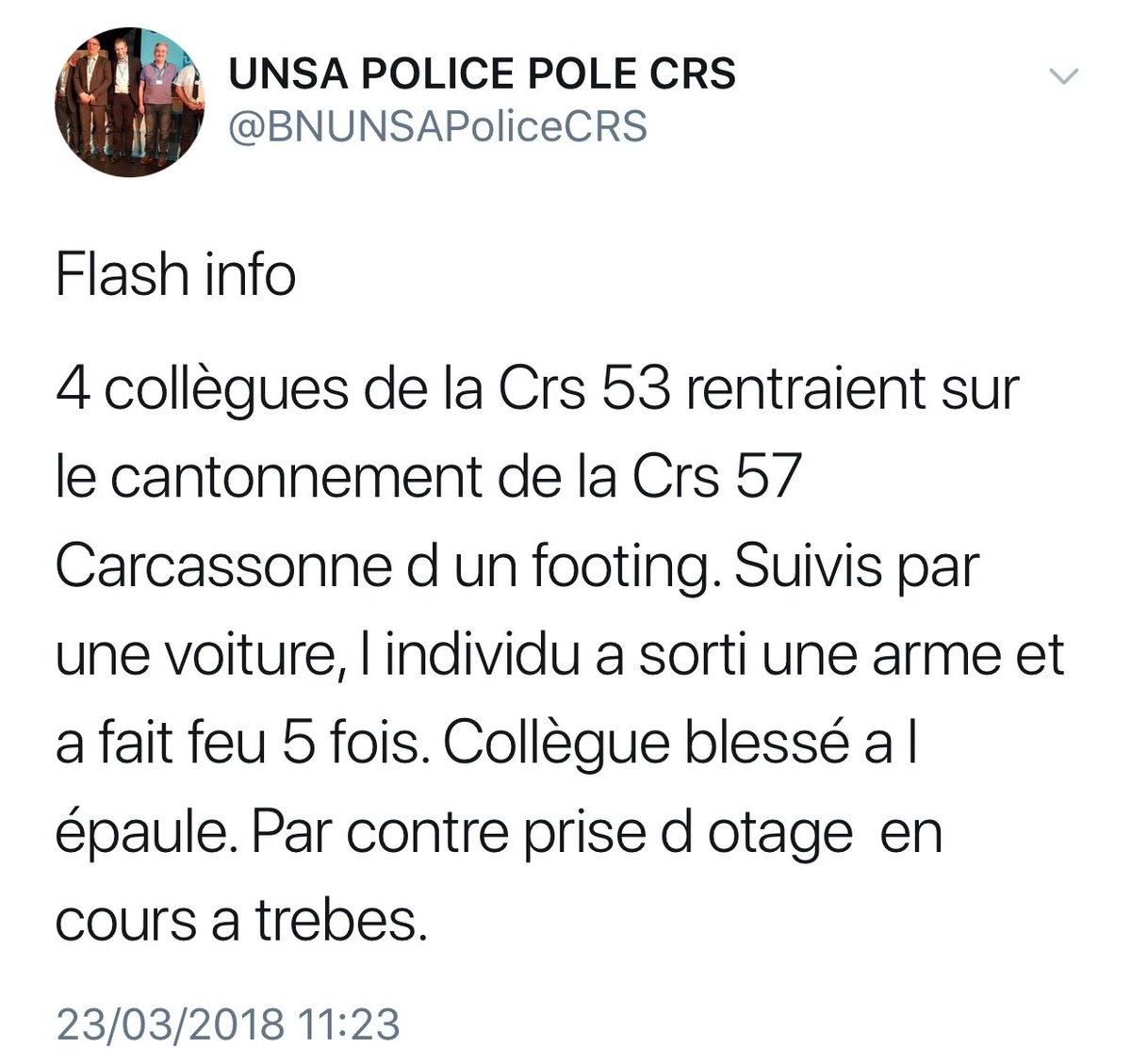 FLASH- Dans le même temps, un syndicat de police annonce une attaque par un individu armé sur des CRS