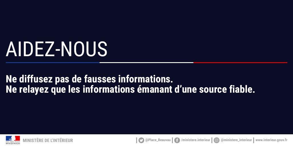 ⚠️ Intervention de police en cours à #Trèbes dans l'#Aude. La priorité est à l'intervention des forces de police et de secours. Plus d'informations à venir sur ce compte, ne diffusez pas de rumeurs ⬇️