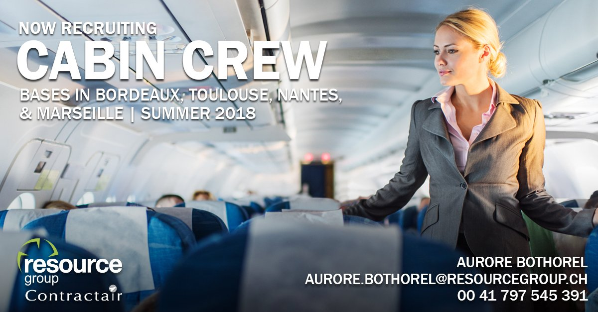 We&#39;re recruiting #CabinCrew. #Bordeaux, #Toulouse, #Nantes and #Marseille bases. Summer 2018. For more information, call Aurore on 0041 797 545 391 or email aurore.bothorel@resourcegroup.ch <br>http://pic.twitter.com/eC8pcgsMq2
