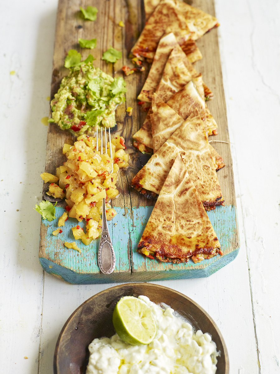 A cheese-filled quesadilla is a little bit naughty, but boy do they taste good! A brilliant old-school recipe, think cheesy tortillas with avo and salsa. Brilliant! https://t.co/tyx50zJ2UL