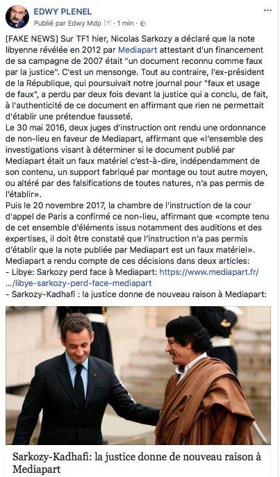"""[FAKE NEWS] Sarkozy a menti sur @TF1 en disant que la note libyenne révélée par @mediapart en 2012 était """"un document reconnu comme faux par la justice"""". Par deux fois, la justice a dit le contraire, confortant son authenticité:-  https:// www.mediapart.fr/journal/france/030616/libye-sarkozy-perd-face-mediapart- https://t.co/d8ruCXF3wH  - FestivalFocus"""