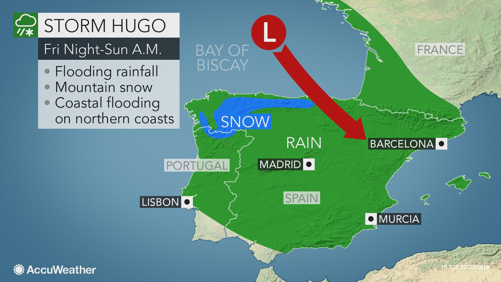 Map Of Northern Portugal And Spain.Accuweather On Twitter Stormhugo Will Whip Through Spain And