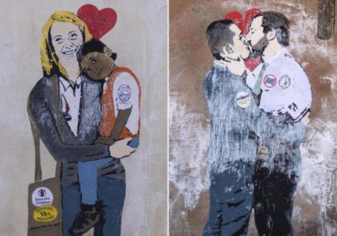 Apparsi due murales a Roma: quello a sinistra rafrigura la Meloni con un bambino africano in braccio, quello a destra un bacio appassionato tra Luigi Di Maio e Matteo Salvini.   Entrambi a firma: #Tvboy ❤️