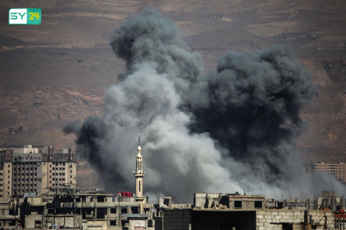 Eastern Damascus towns hit by airstrikes.