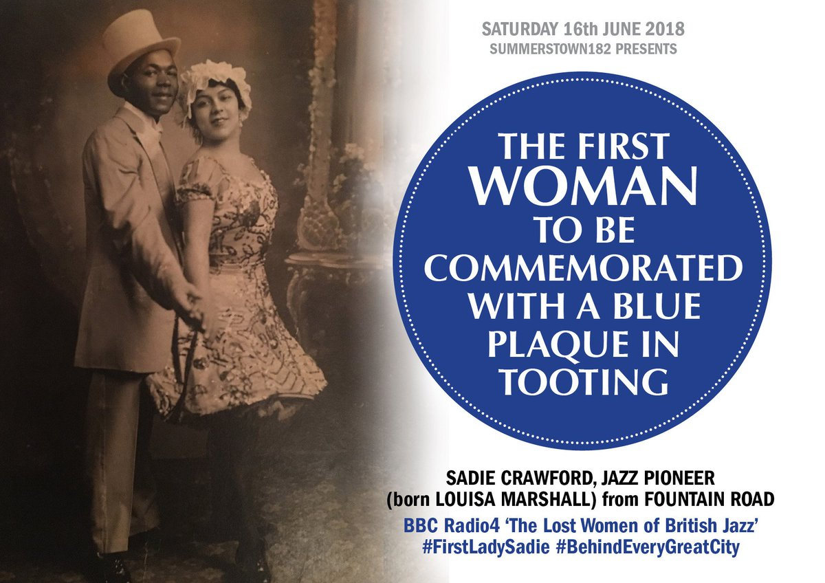 Dave's wife is the niece of Sadie Crawford, #Tooting #jazzpioneer, instrumental in putting up a historic plaque for her Aunt this summer #FirstLadySadie #LostWomenOfBritishJazz https://summerstown182.wordpress.com/2018/02/22/song-and-dance/…