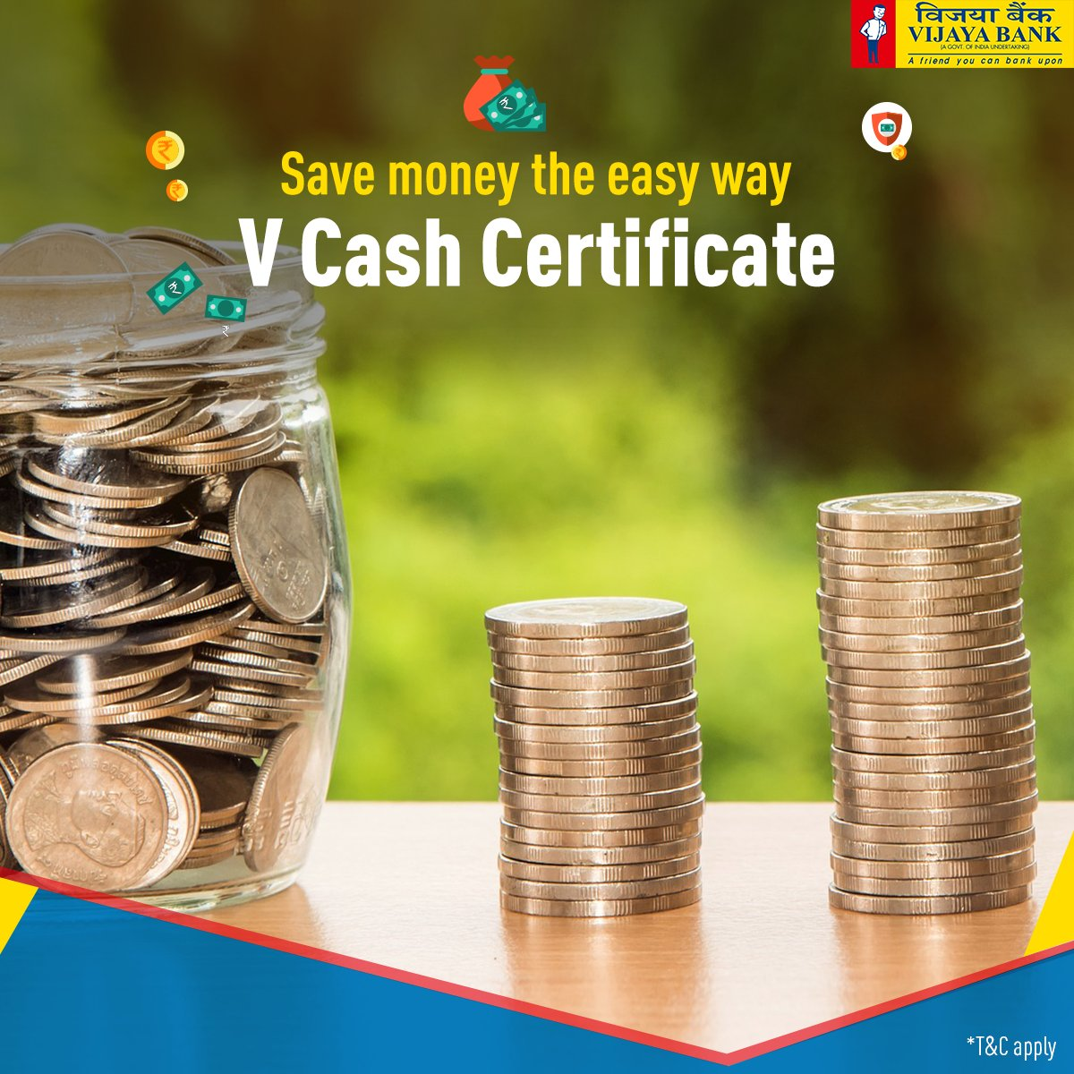 Vijaya bank on twitter saving money is easy opt for vijaya cash the highest yield of interest on your savings tc apply learn more httpsvijayabanksavings and depositsterm depositsv cash certificate 1betcityfo Images