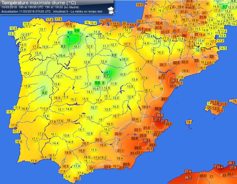 Carte Espagne Meteo.Meteo Villes Twitterissa Le Printemps Presque L Ete