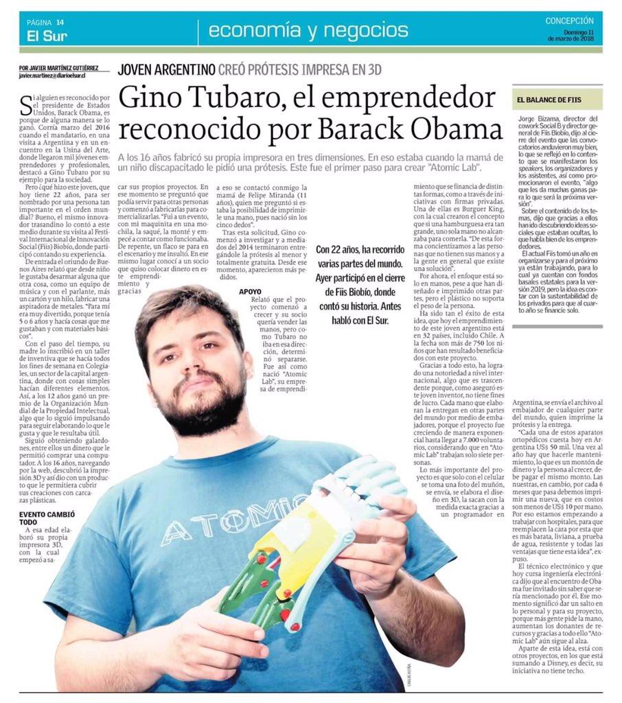 Hoy en @elsurcl: @ginotubaro, el emprend...