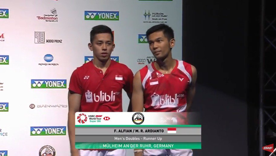 Runner up German Open 2018, Muhammad Rian Ardianto dan Fajar Alfian.