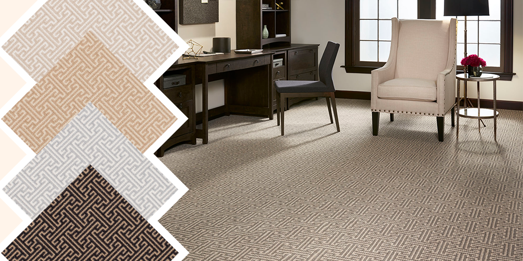 Dark Alfriston carpet swatches show off a distinct Greek Key pattern while its light swatches give a softer look. Which hue is more your style?    #Staatsburg  #StaatsburgNY