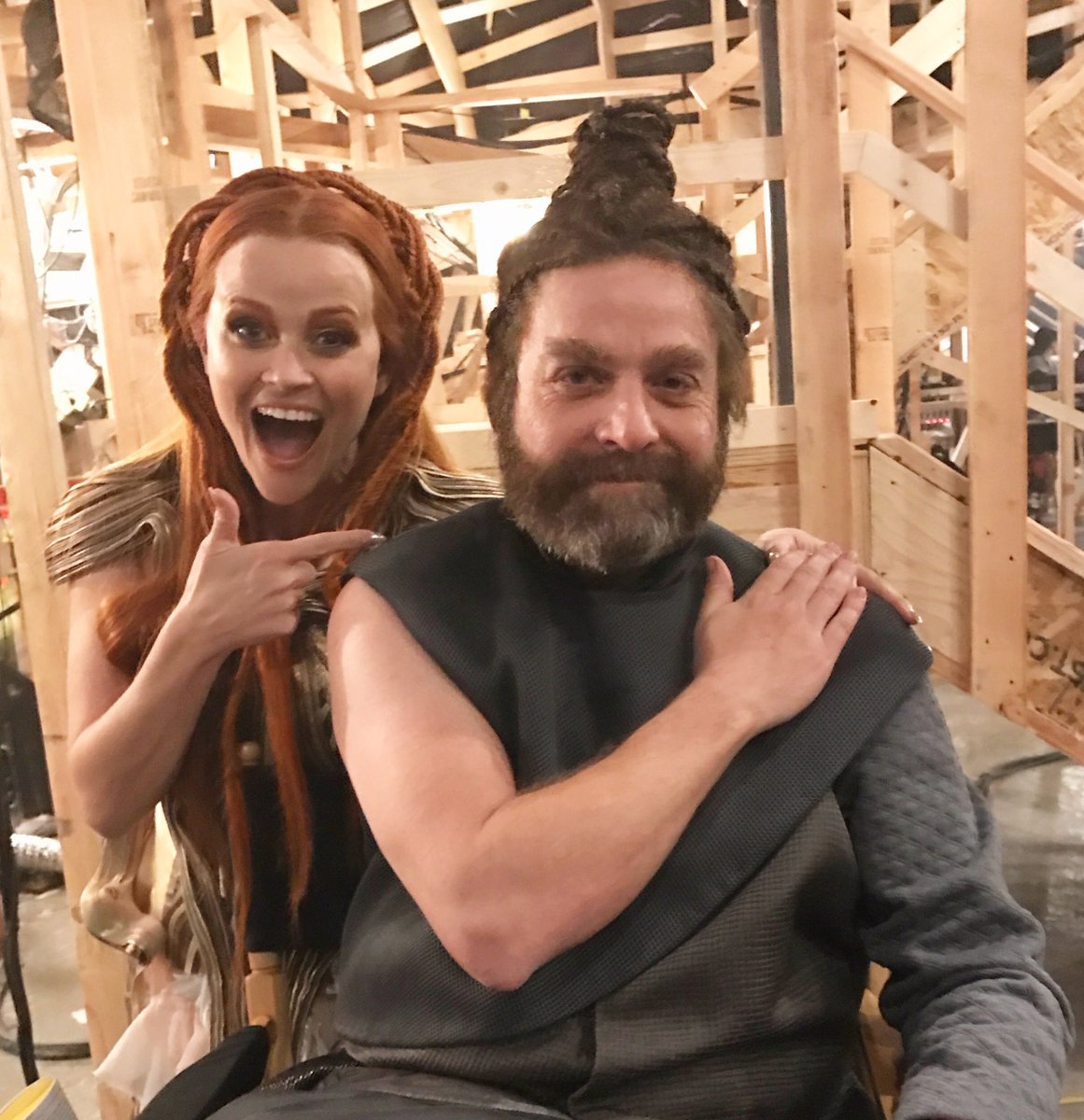 Question - who has better hair? Me or this guy? #ManBun #ZackGalifianakis #BehindTheScenes from @WrinkleInTime